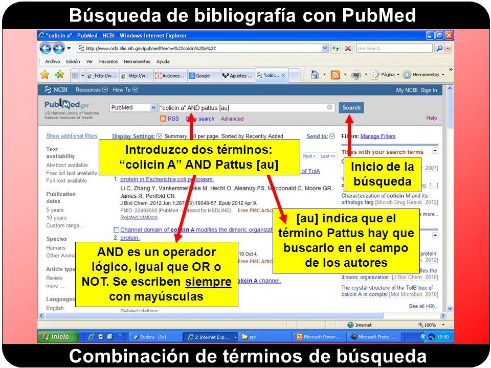 Introduzco dos términos: colicin A AND Pattus [au]